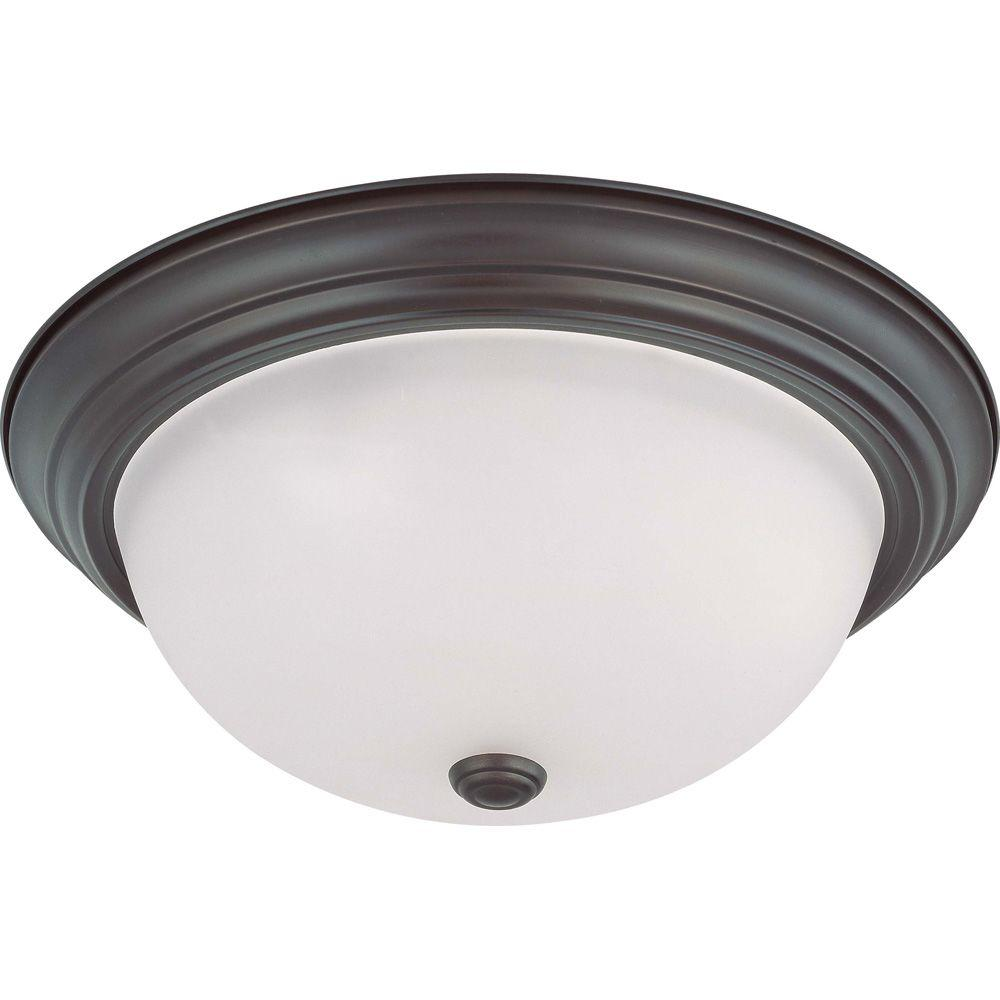 Lite Line 3-Light Mahogany Bronze Flushmount with Frosted White Glass