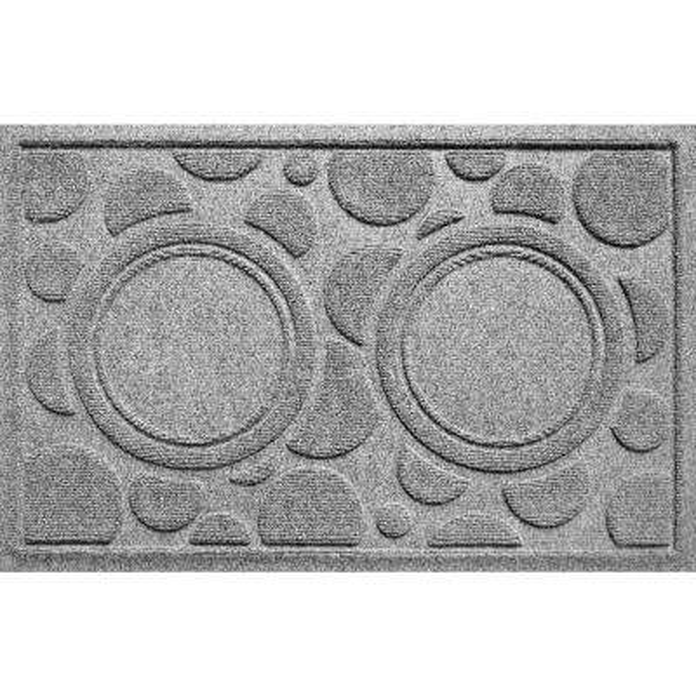 Medium Gray 18 in. x 27 in. Dog Bowl Dots Polypropylene Pet Mat