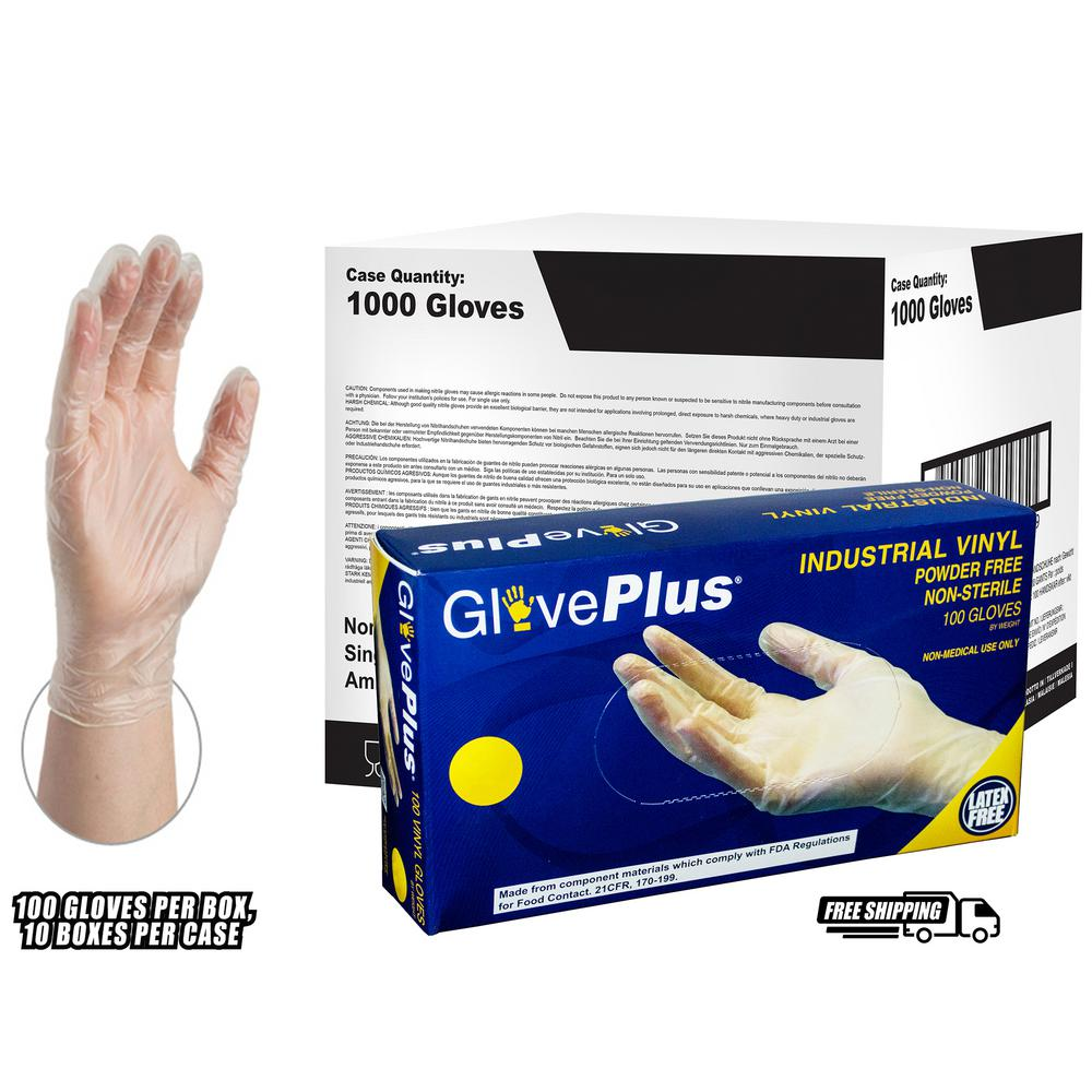 Clear Vinyl Industrial Latex Free Disposable Gloves (Case of 1000)