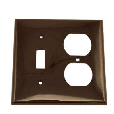 2-Gang Standard Size 1-Toggle 1-Duplex Receptacle Nylon Combination Wall Plate, Brown