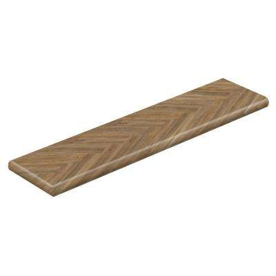 Blue Ridge Oak 94 in. L x 12-1/8 in. W x 1-11/16 in. H Vinyl Overlay Left Return to Cover Stairs 1 in. Thick