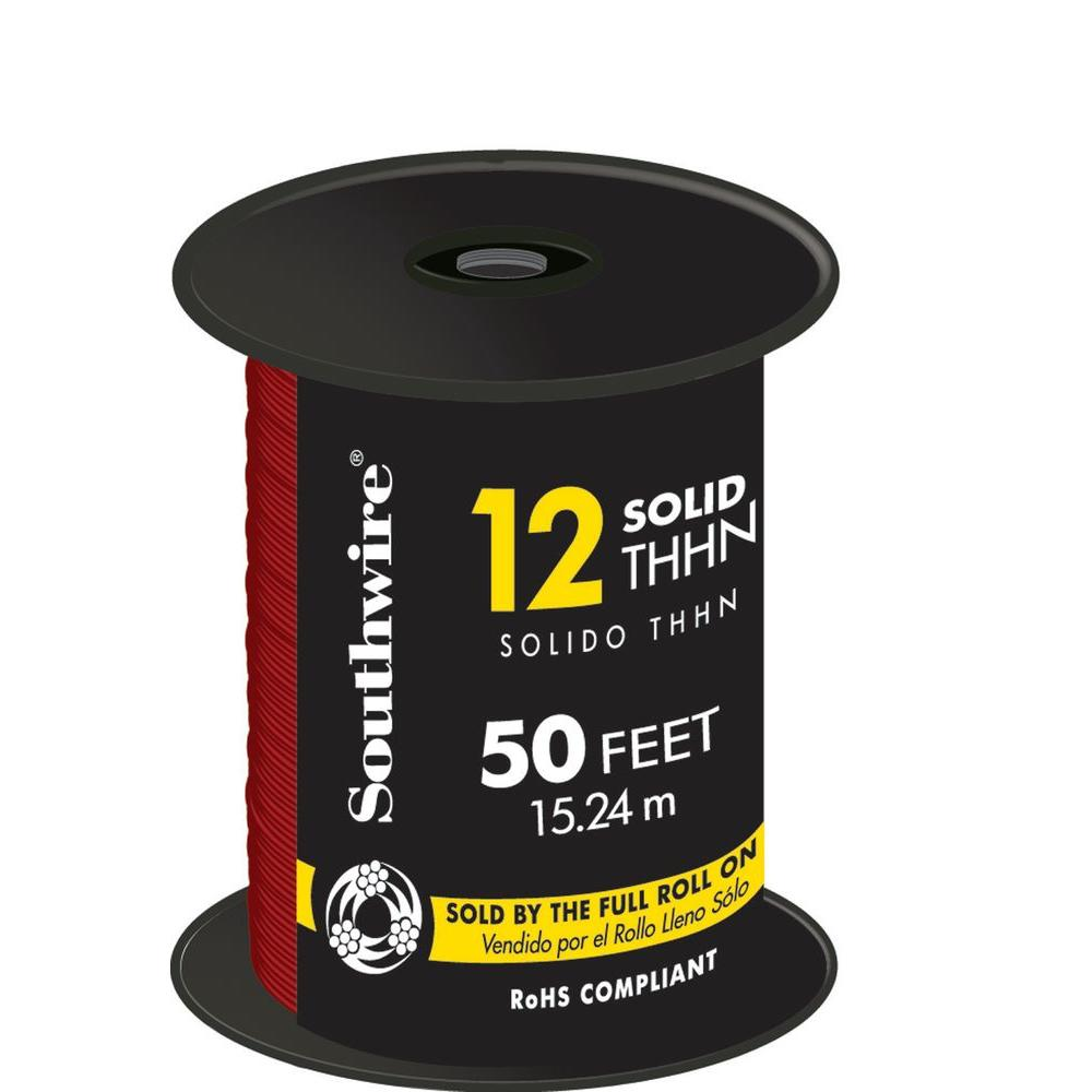 Southwire 50 ft. 12 Red Solid CU THHN Wire