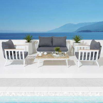 Vera 4 Piece Aluminum Patio Conversation Set With Charcoal Grey Cushions