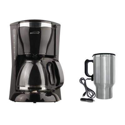 12-Cup Black Coffee Maker with 16 oz. Stainless Steel Heated Travel Mug and 12-Volt Car Adapter