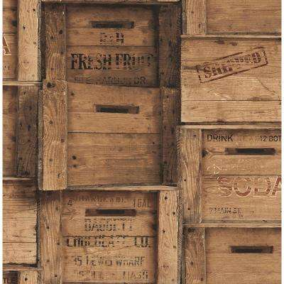 Brown Wood Crates Distressed Wallpaper