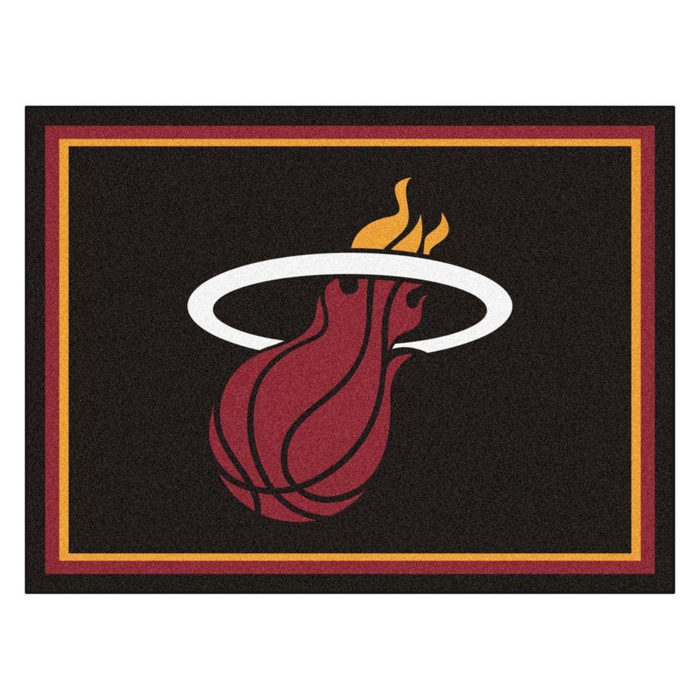 NBA Miami Heat Black 8 ft. x 10 ft. Indoor Area Rug
