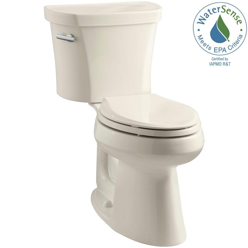 KOHLER Highline 14 in. Rough-In 2-piece 1.28 GPF Single Flush Elongated Toilet in Almond