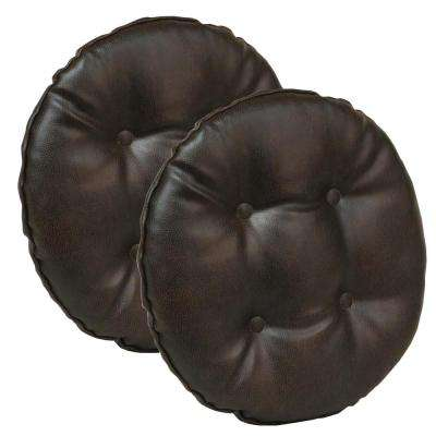 Gripper Non-Slip 14 in. x 14 in. Dark Brown Faux Leather Tufted Barstool Cushions (Set of 2)