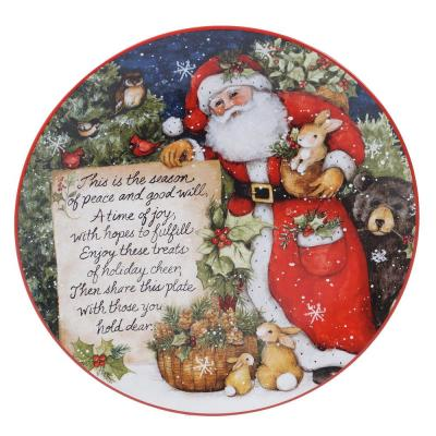 Magic Of Christmas Santa Multicolored Earthenware 12 in. Pass Along Plate