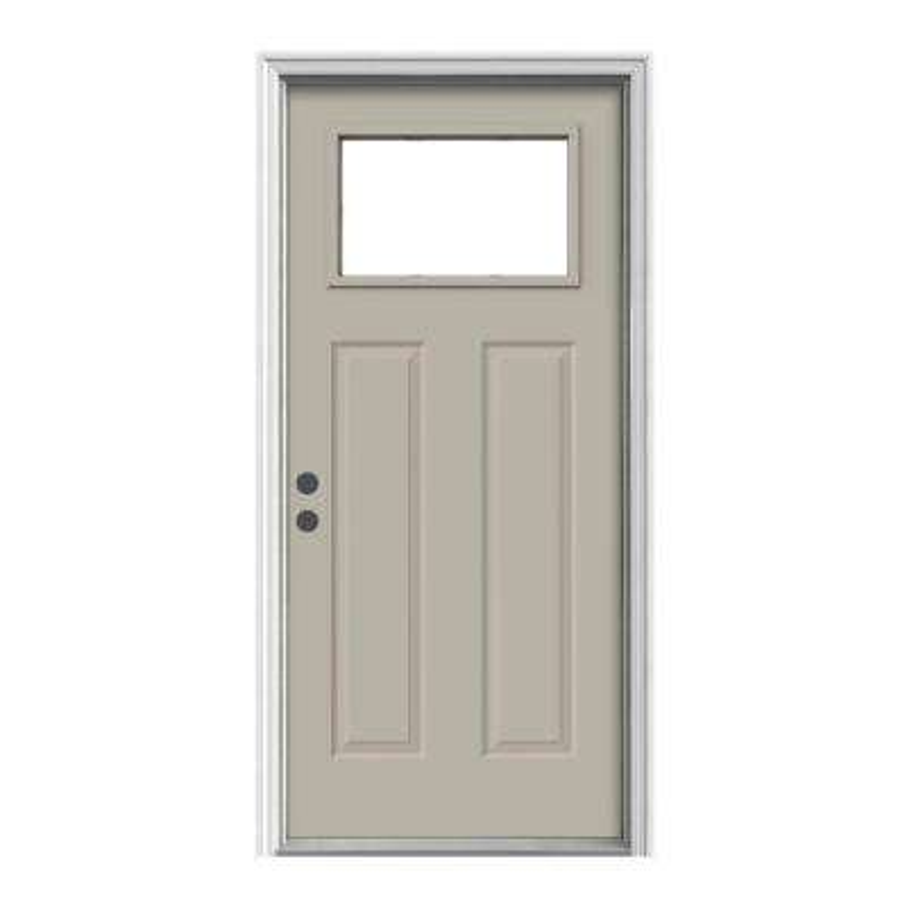 36 in. x 80 in. 1-Lite Craftsman Desert Sand Painted Steel Prehung Right-Hand Inswing Front Door w/Brickmould