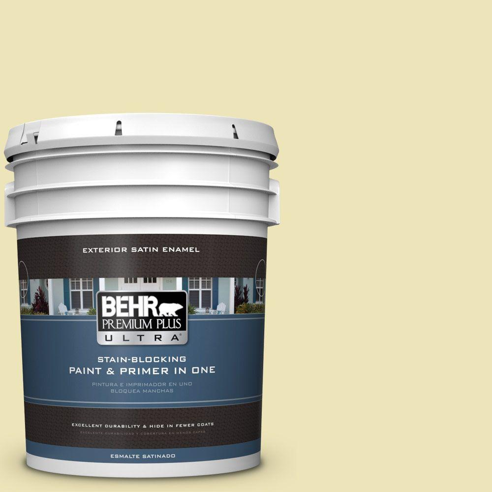 BEHR Premium Plus Ultra 5-gal. #PPU9-13 Yellow Wax Pepper Satin Enamel Exterior Paint