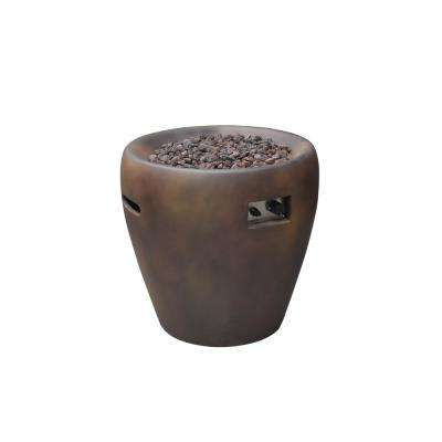 Lincoln 27 in. Round Concrete Propane Fire Pit Column Rust with Electronic Ignition with Auto Shut-Off System