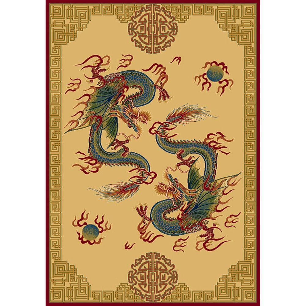 United Weavers Overstock Dueling Dragons Suede 7 ft. 10 in. x 10 ft. 6 in. Area Rug