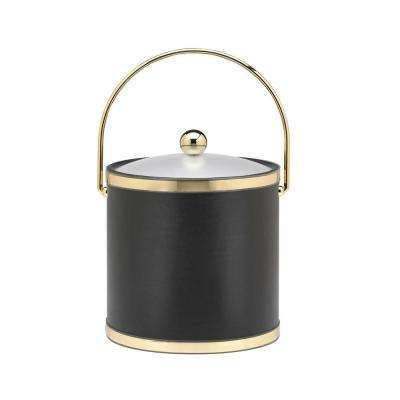 Sophisticates 3 Qt. Black w/Polished Brass Ice Bucket with Bale Handle, Acrylic Cover