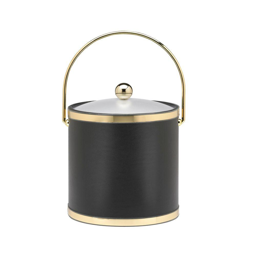 Kraftware Sophisticates 3 Qt. Black w/Polished Brass Ice Bucket with Bale Handle, Acrylic Cover