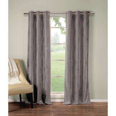 Floral Grey Polyester Blackout Grommet Window Curtain 36 in. W x 84 in. L (2-Pack)