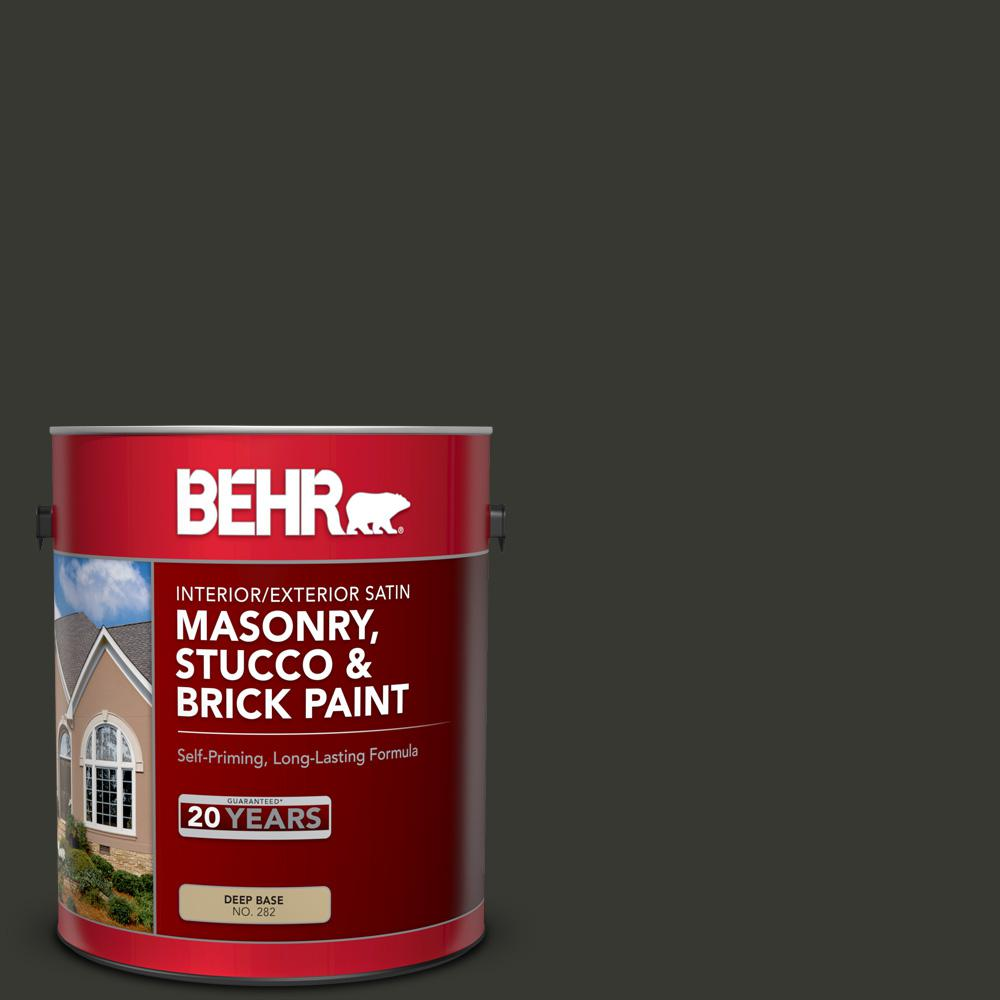 BEHR 1 gal  #T13-3 Black Lacquer Satin Interior/Exterior Masonry, Stucco  and Brick Paint
