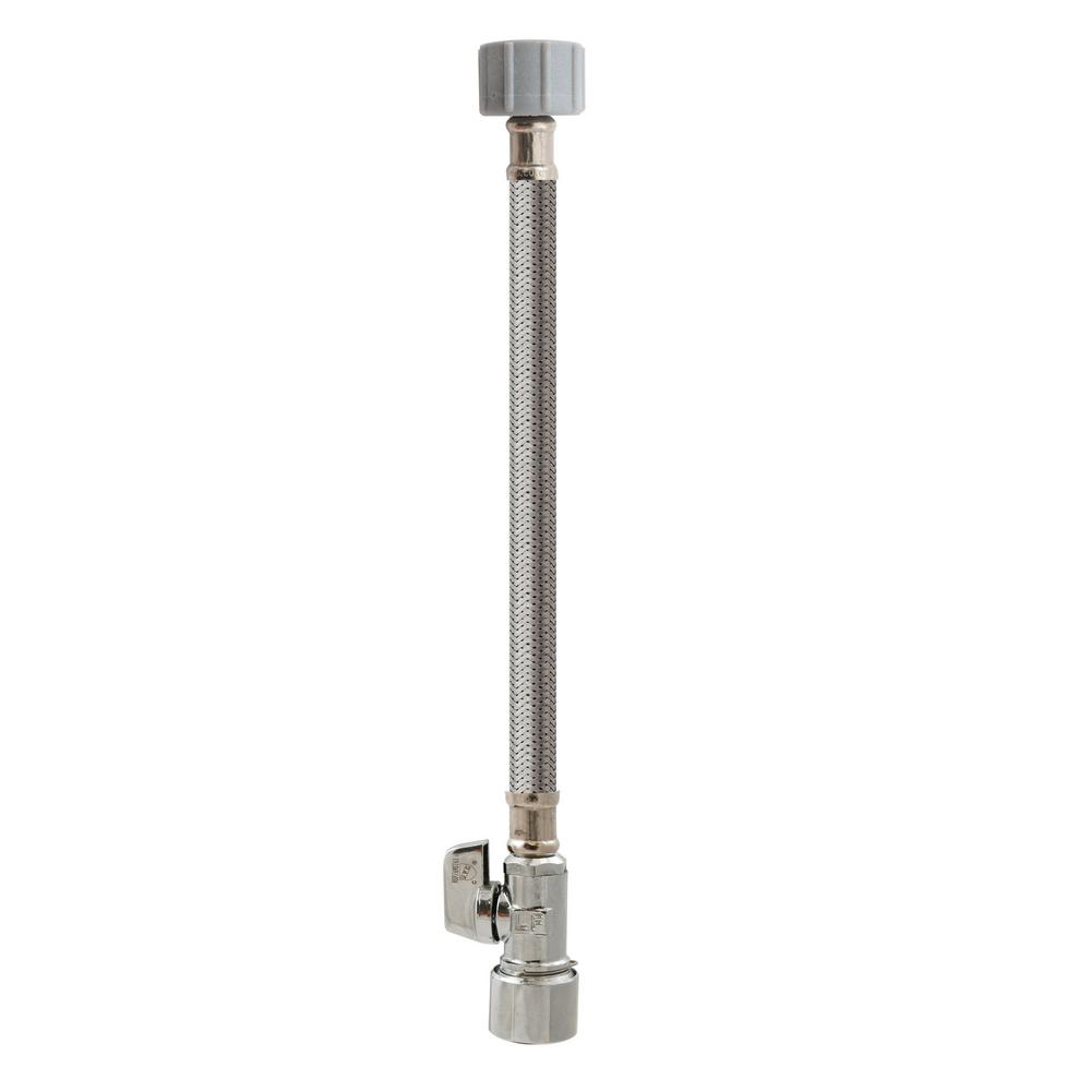 5/8 in. x 12 in. Quick Lock Stainless Steel Supply Line for Toilet With Quarter Turn Valve