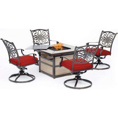 Traditions 5-Piece Aluminum Fire Pit Patio Seating Set with Autumn Berry Cushions, Swivel Rockers and Fire Pit Table