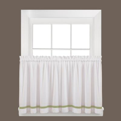 Kate 36 in. L Polyester Tier Curtain in Sage (2-Pack)