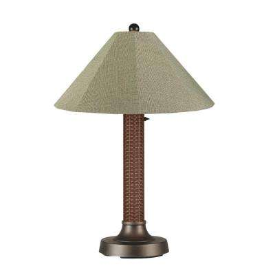 Bahama Weave 34 in. Red Castagno Outdoor Table Lamp with Basil Linen Shade