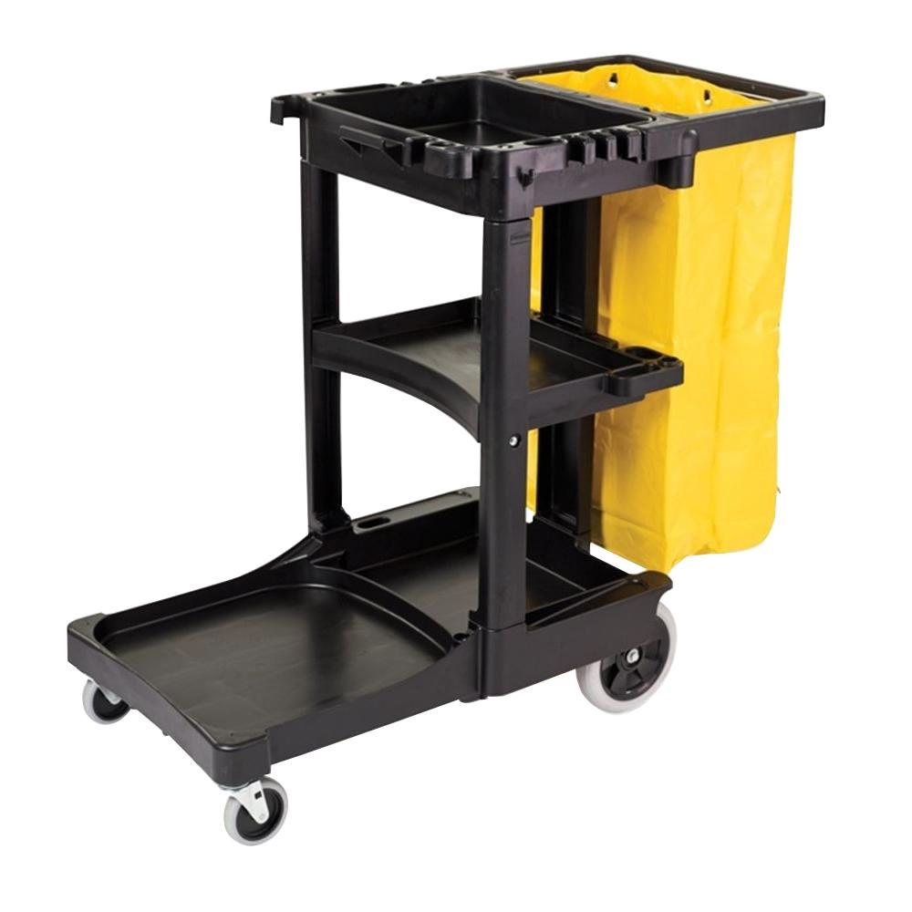 Factory Utility Cart: Rubbermaid Commercial Products Cleaning Cart With Zippered Yellow Vinyl Bag-FG617388BLA