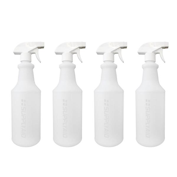 Empty 32 oz Leak Proof Adjustable Head Sprayer Fine to Stream Value Pack of 2 for Chemical and Cleaning Solutions CARCAREZ Plastic Spray Bottles