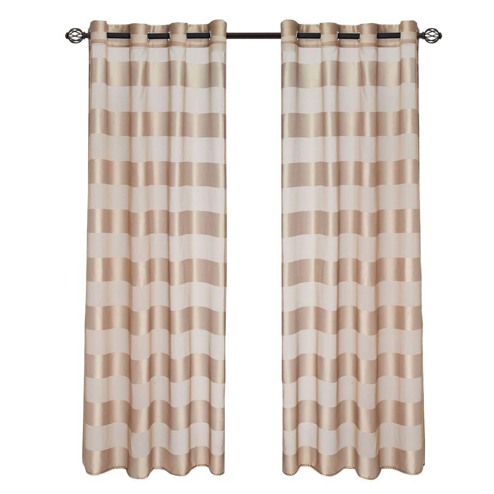 Lavish Home Taupe Sofia Grommet Curtain Panel 95 In Length 63 95t096 T The Home Depot