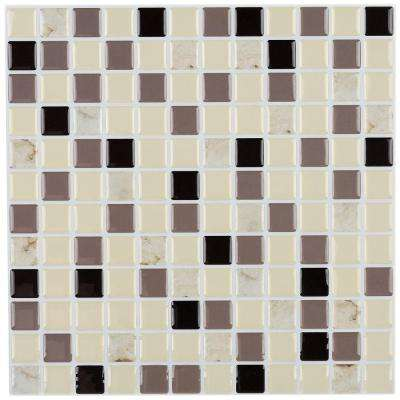 12 in. x 12 in. Peel and Stick Mosaic Decorative Wall Tile in Shades of Brown and Tan Marble (6-Pack)