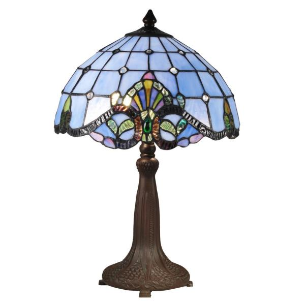 18.5 in. Antique Bronze Verde Table Lamp with Hand Rolled Art Glass