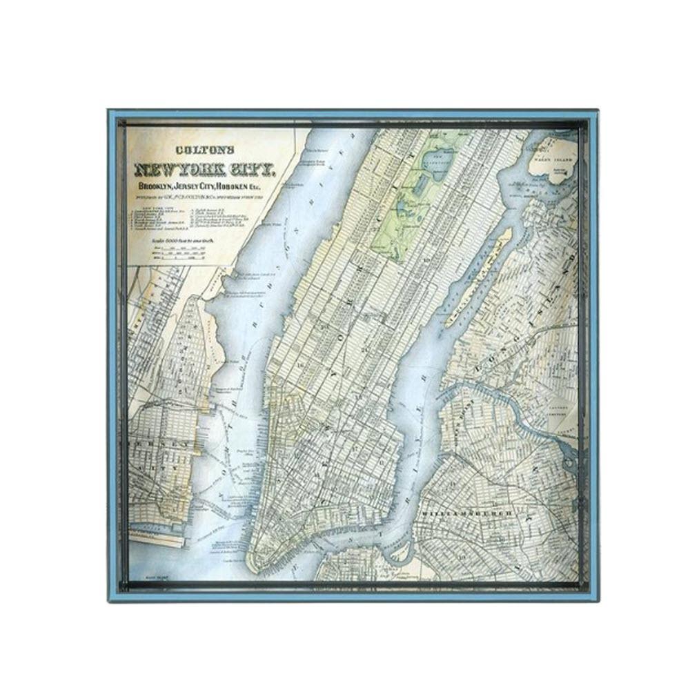 Vintage Maps New York c.1884 Square Tray