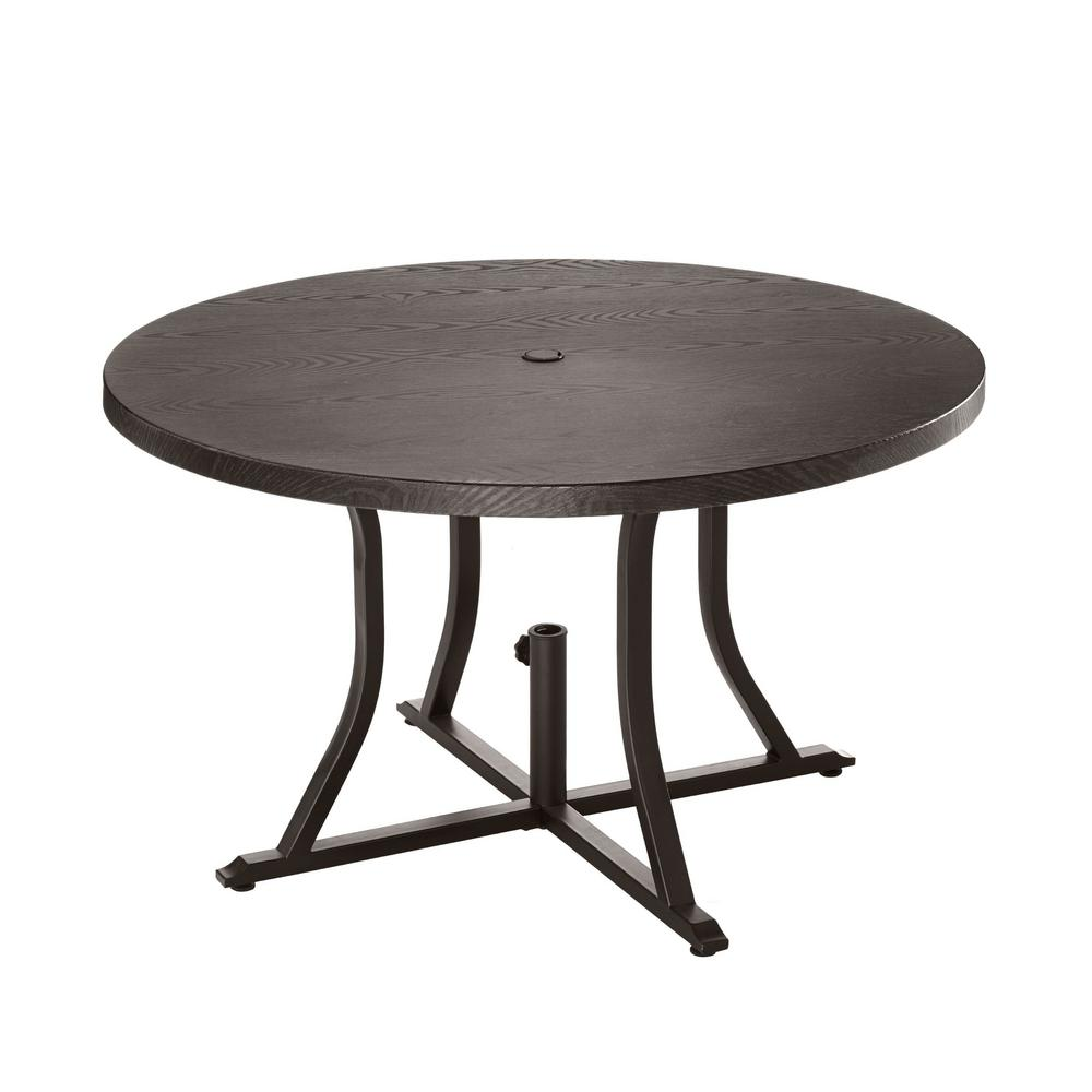 hampton bay Beacon Park Brown 48 in. Dia. Round Steel Outdoor Dining Table