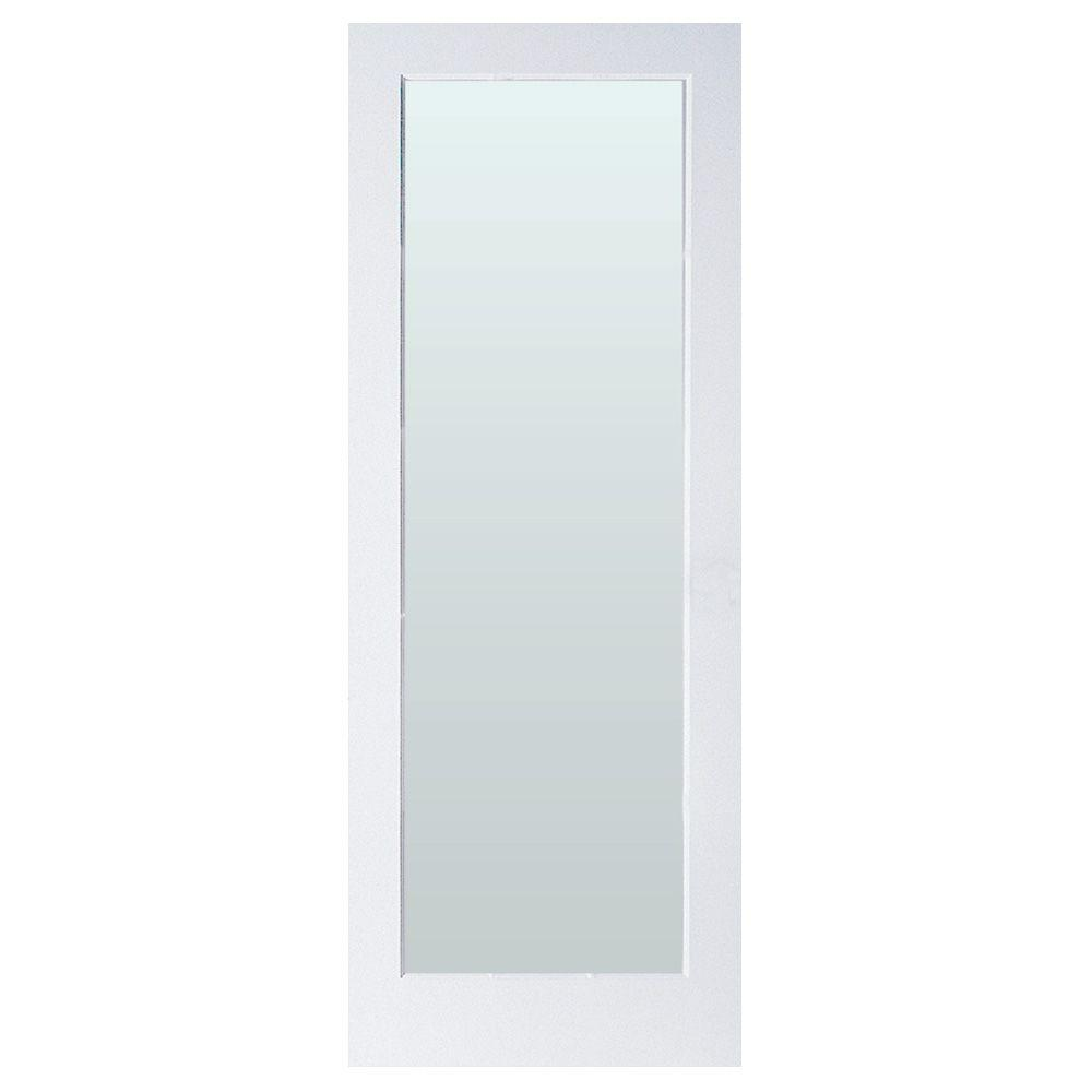 Masonite 24 in. x 80 in. Full-Lite Solid-Core Primed MDF Interior Door Slab with Sandblasted Privacy Glass