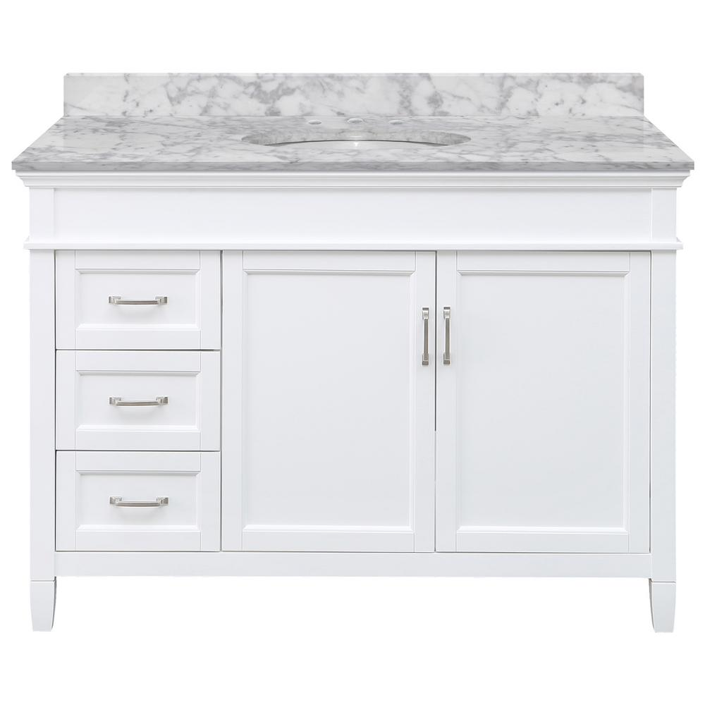Home Decorators Collection Ashburn 49 in. W x 22 in. D Bath Vanity in White LH Drawers with Marble Vanity Top in Carrara with White Oval Sink was $1319.0 now $791.4 (40.0% off)
