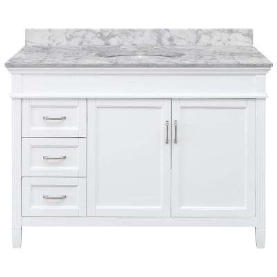 Ashburn 49 in. W x 22 in. D Bath Vanity in White LH Drawers with Marble Vanity Top in Carrara with White Oval Sink