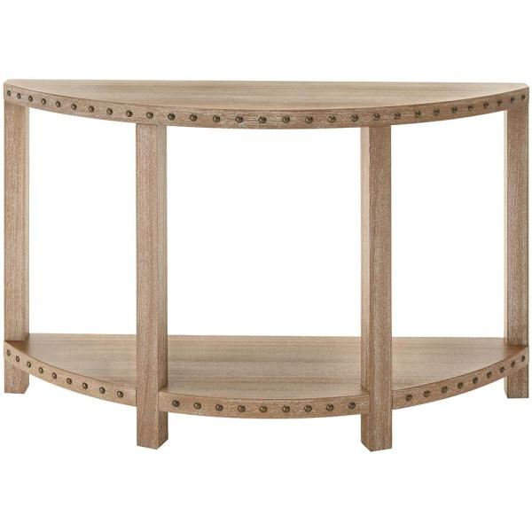 Home Decorators Collection Nailhead Light Washed Oak Console Table 9927300970