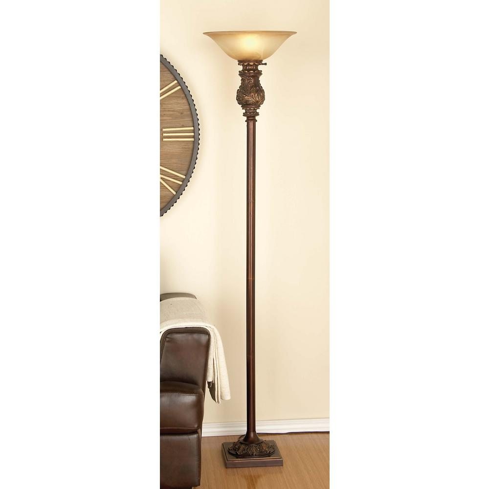 70 in. Classic Metal Glass White Floor Lamp