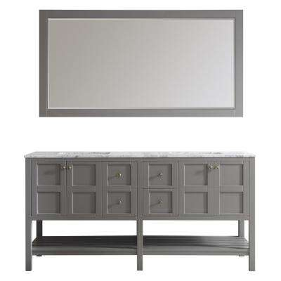 Florence 72 in. W x 22 in. D x 35 in. H Vanity in Grey with Marble Vanity Top in White with Basin and Mirror