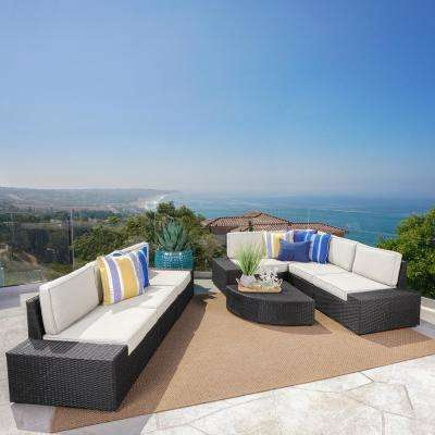 Eduardo Grey 8-Piece Wicker Outdoor Sectional Set with White Cushions