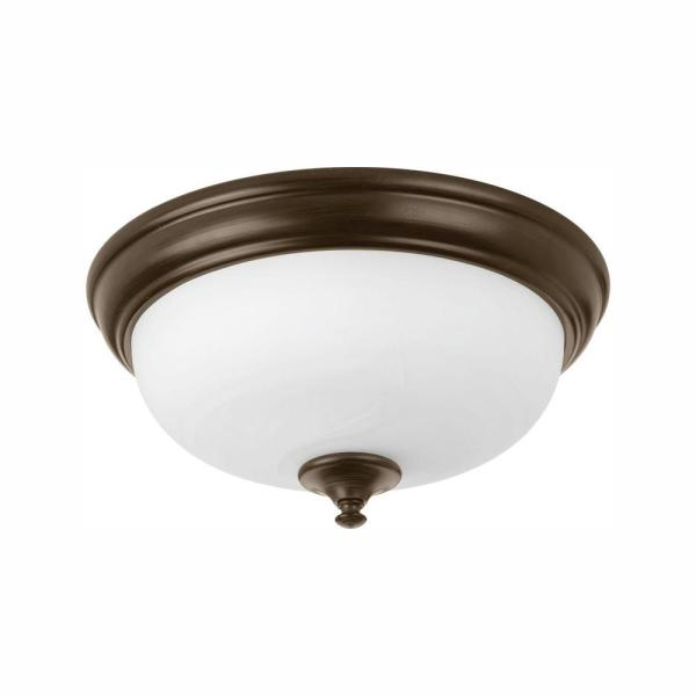 13 in. Alabaster Collection 21 -Watt Antique Bronze Integrated LED Flush Mount
