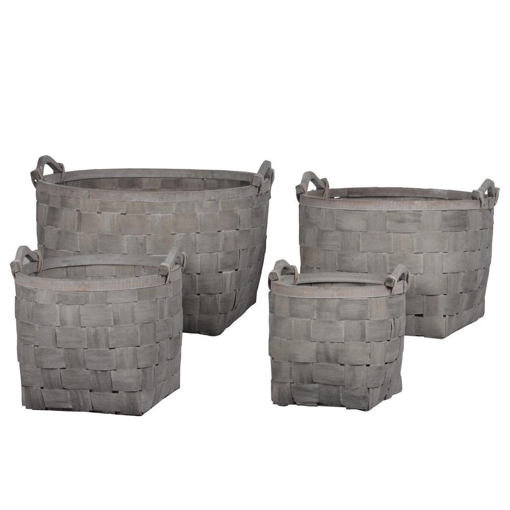 Round Wood Gray Decorative Basket (Set of 4)