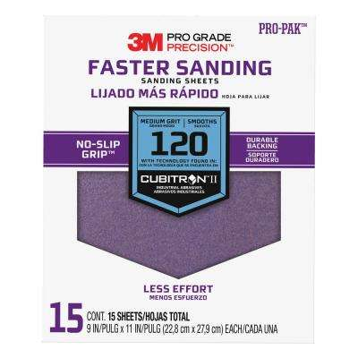 Pro Grade Precision 9 in. x 11 in. 120 Grit Medium Advanced Sanding Sheets (15-Pack) (Case of 5)