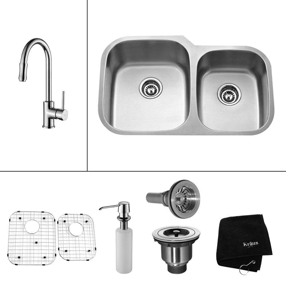 KRAUS All-in-One Undermount Stainless Steel 32 in. Double Basin Kitchen Sink with Faucet and Accessories in Chrome