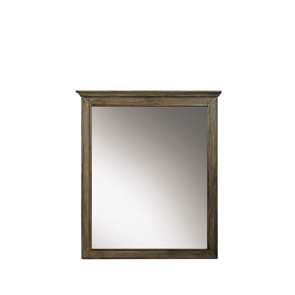 Home Decorators Collection Clinton 28 in. W x 33 in. H Framed Wall Mirror in Almond Latte
