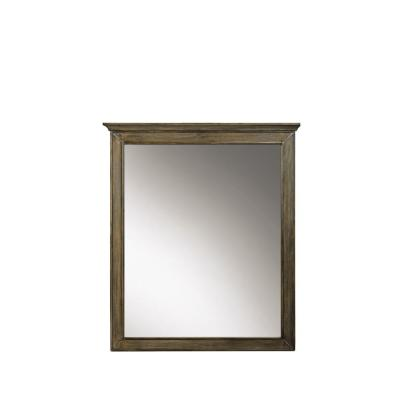 28 in. W x 33 in. H Framed Rectangular  Bathroom Vanity Mirror in Almond Latte