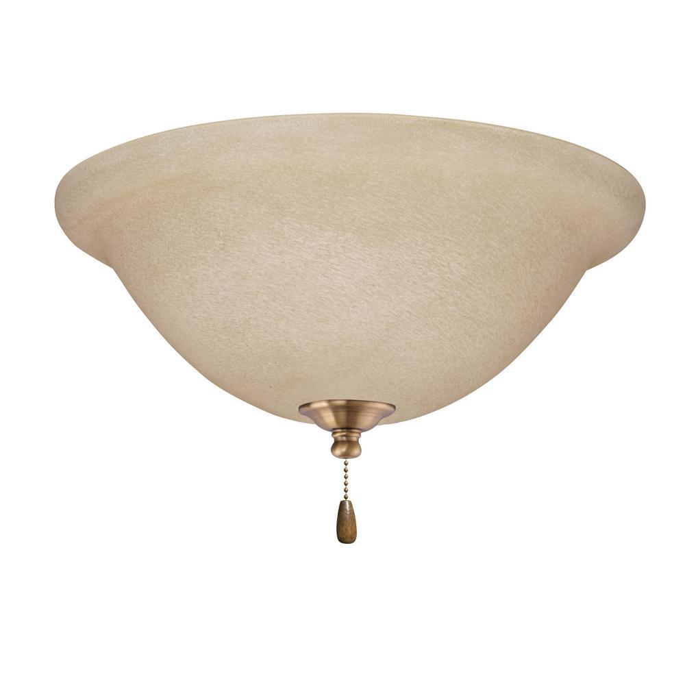 Amber Mist LED Array Antique Brass Ceiling Fan Light Kit