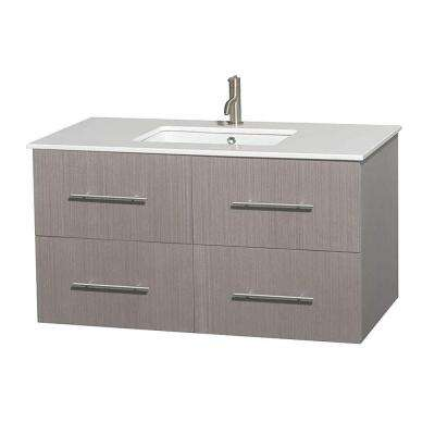 Centra 42 in. Vanity in Gray Oak with Solid-Surface Vanity Top in White and Undermount Sink