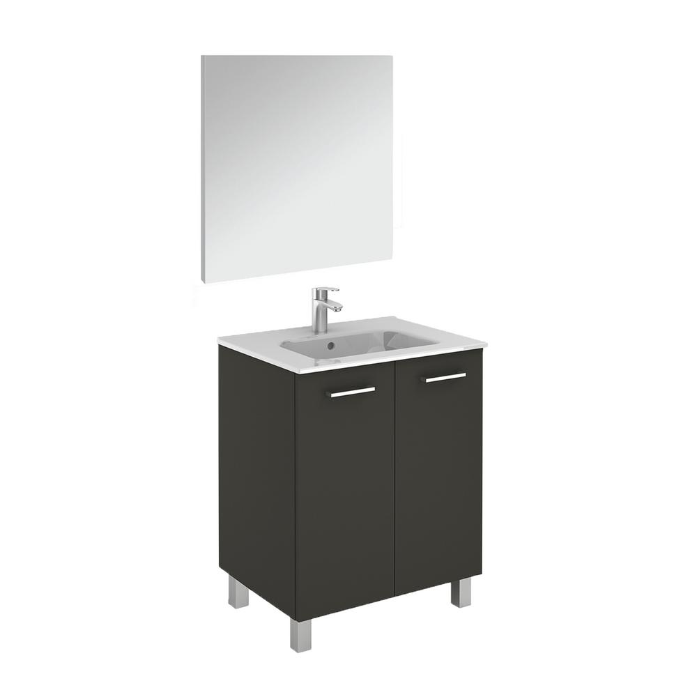 WS Bath Collections Logic 27.6 in. W x 18.0 in. D x 33.0 in. H Bath Vanity  in Anthracite with Ceramic Vanity Top in White with Mirror