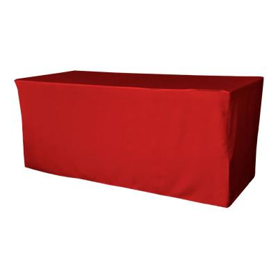 72 in. L x 24 in. W x 30 in. H Red Polyester Poplin Fitted Tablecloth