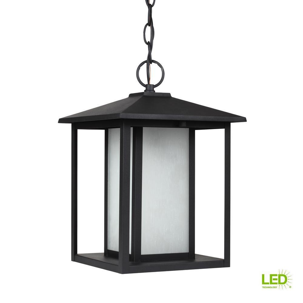 Hunnington Black 1-Light Outdoor Hanging Pendant with LED Bulb